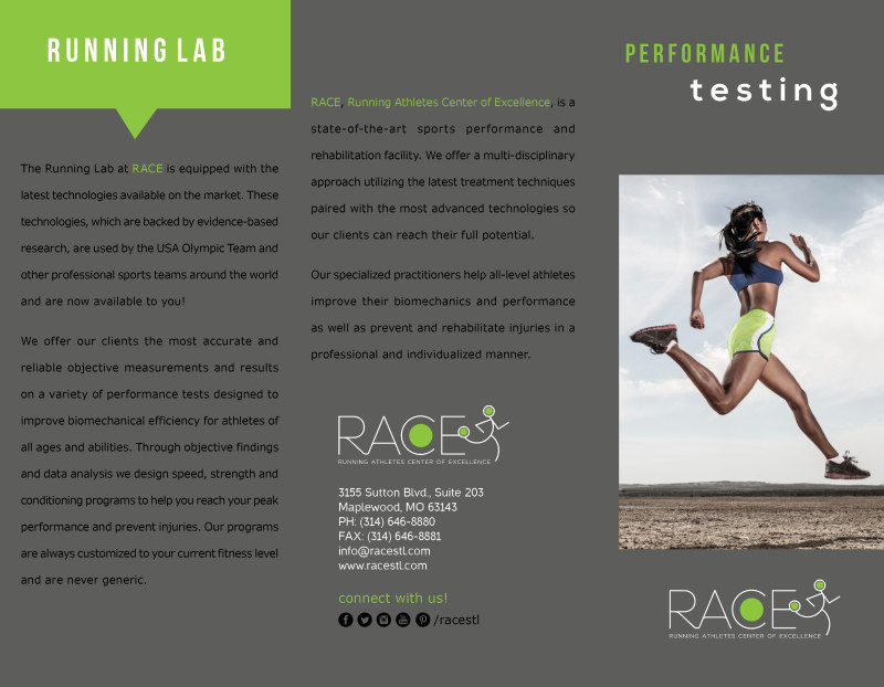 Brochure layout for Race STL Running Lab Brochure for inside flap, back panel, and front panel