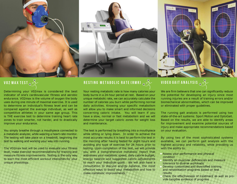 Inside pages of Race STL running lab brochure detailing their different testing available