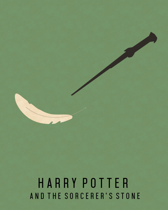 harry potter and the sorcerer's stone minimalist book cover with wand and floating feather