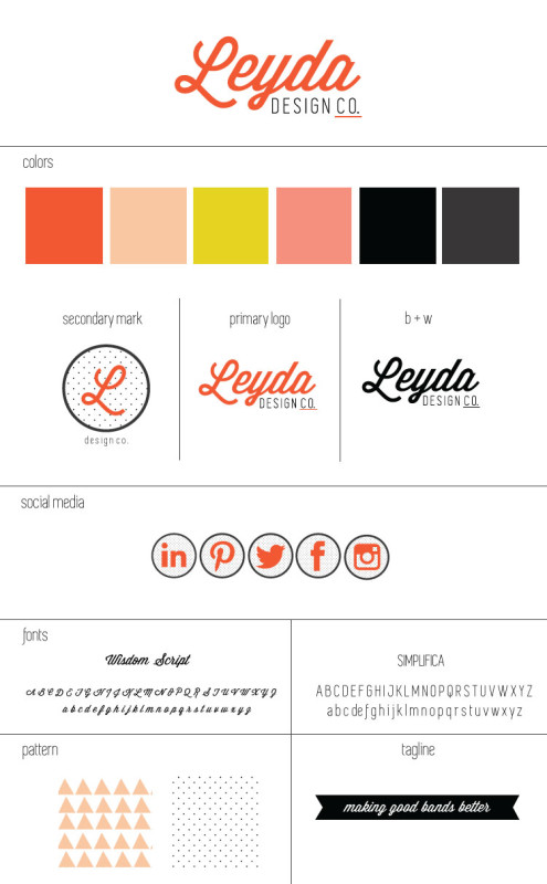branding style sheet for leyda campbell design co